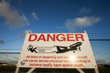 Warning Sign Near St. Maarten Airport, Netherlands Antilles Photographic Print by Paul Souders
