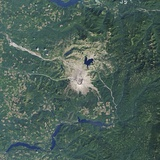 Satellite Image of the Mount St. Helens National Volcanic Monument Photographic Print