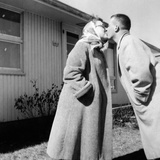 Young Husband and Wife Kiss, Ca. 1955 Photographic Print
