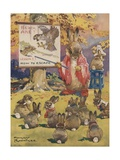 Rabbit Teacher Instructing Young Rabbits on How to Escape Danger Giclee Print