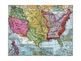 Map of United States Expansion Wydruk giclee