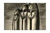 Sculptures Against Night Sky Giclee Print