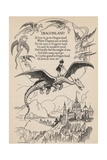 Illustration of Girl Riding Flying Dragon Wydruk giclee
