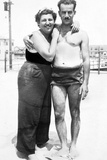 Young Couple in Swimwear on Beach, Ca. 1929 Photographic Print