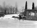 1920s Couple Man Woman Ice Skating on Outdoor Rink with Car Nearby Skating Side by Side Photographic Print