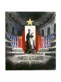 Concert Hall with Russian and Union Jack Banners Giclee Print