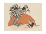 Illustration of Female Birds Watching Another Bird Sweep Giclee Print