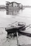 Oil-Slicked Boat Washed on Oiled Beach Photographic Print