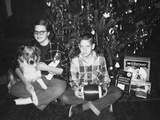 Brother and Sister Pose by the Christmas Tree, Ca. 1960 Reproduction photographique