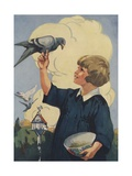 Illustration of Girl with Pigeon Giclee Print