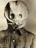 British Soldier in Gas Mask Photographic Print