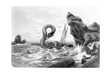 Sea Serpent Attacking Ship Giclee Print