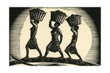 Women Carrying Baskets on their Heads Giclee Print