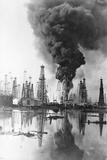Fire Burning at Oil Well Photographic Print