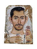 Fayum Portrait of a Man Holding a Small Glass Vessel and Garland Giclee Print