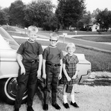 A Lineup of Kids by the Family Car. 1965 Photographic Print