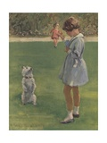 Illustration of Girl Teaching Dog Trick Giclee Print