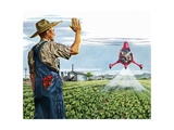 Farmer Waving to a Crop Duster Giclee Print
