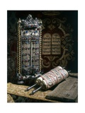 Scrolls of the Torah, Torah Cover and the Ten Commandments Giclee Print