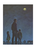 Father and Children Looking at Moon and Stars Giclee Print