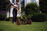 Boy Mowing Lawn Photographic Print by William Gottlieb
