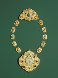Pieces of a Gold Necklace with Grey Chalcedony, Turquoise, and Glass Photographic Print