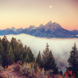 Moonlight and Foggy Snake River Overlook, Grand Teton Photographic Print by Vincent James