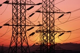 Sunset Behind Electrical Towers Photographic Print by Roger Ressmeyer