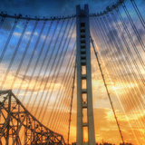 Beautiful Sunset Crossing Bay Bridge, Oakland Photographic Print by Vincent James