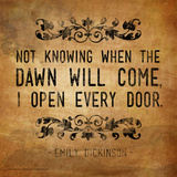 Now Knowing - Emily Dickinson Classic Quote Affiche par Jeanne Stevenson