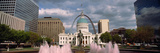 Government Building and Fountain Surrounded by Gateway Arch, Old Courthouse, St. Louis Photographic Print