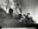 SS Normandie Burning in New York Harbor Photographic Print