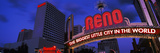 Low Angle View of the Reno Arch at Dusk, Virginia Street, Reno, Nevada, USA 2013 Photographic Print