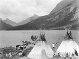 Teepee,Indians on Shore of Lake Photographic Print by Philip Gendreau