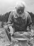 Old-Time Gold Prospector with Pan in Hands Photographic Print by Philip Gendreau