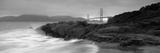 Waves Breaking on Rocks, Golden Gate Bridge, Baker Beach, San Francisco, California, USA Fotografisk trykk