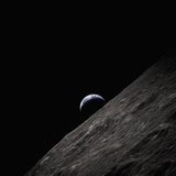 Earth Rising Above the Moon Photographic Print