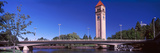 Bridge with Clock Tower in the Background, Riverfront Park, Spokane, Washington State, USA Photographic Print