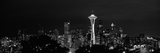 Skyscrapers in a City Lit Up at Night, Space Needle, Seattle, King County, Washington State Photographic Print