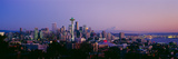 High Angle View of a City at Sunrise, Seattle, Mt Rainier, King County, Washington State, USA 2013 Photographic Print