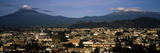 Aerial View of a City a with Mountain Range in the Background, Popocatepetl Volcano, Cholula Photographic Print