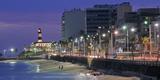 Buildings at Porto Da Barra Beach with Forte De Santo Antonio Lighthouse at Evening, Salvador Reproduction photographique