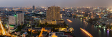 High Angle View of City at Dusk, Chao Phraya River, Bangkok, Thailand Photographic Print