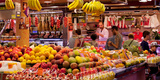 Fruits at Market Stalls, La Boqueria Market, Ciutat Vella, Barcelona, Catalonia, Spain Photographic Print