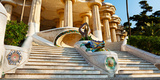 Low Angle View of Hall of Columns, Park Guell, Barcelona, Catalonia, Spain Photographic Print