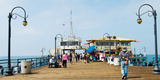 Tourists on Santa Monica Pier, Santa Monica, Los Angeles County, California, USA Photographic Print