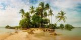 Palm Trees on the Beach in Morro De Sao Paulo, Tinhare, Cairu, Bahia, Brazil Reproduction photographique