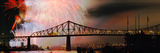 Fireworks over the Jacques Cartier Bridge at Night, Montreal, Quebec, Canada Photographic Print