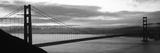 Silhouette of a Suspension Bridge at Dusk, Golden Gate Bridge, San Francisco, California, USA - Fotografik Baskı