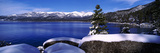 Lake with a Snowcapped Mountain Range in the Background, Sand Harbor, Lake Tahoe, California, USA Photographic Print